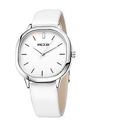 Kezzi Unisex Armbanduhr Quarz minimal Lederband silber weiss