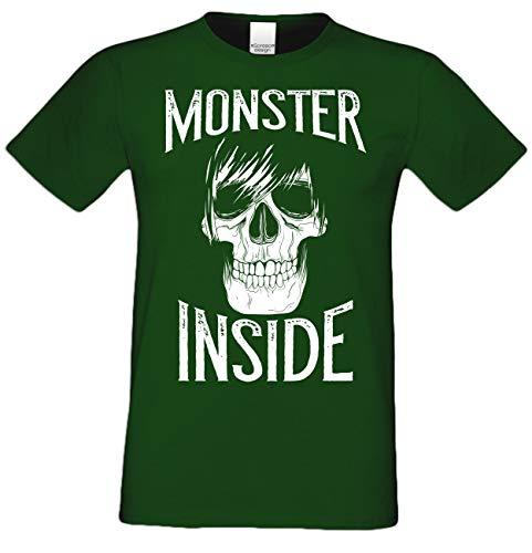 Halloween Herren T-Shirt -:- Monster Inside Skelett Skull Totenkopf -:- Farbe: dunkelgrün Gr: S
