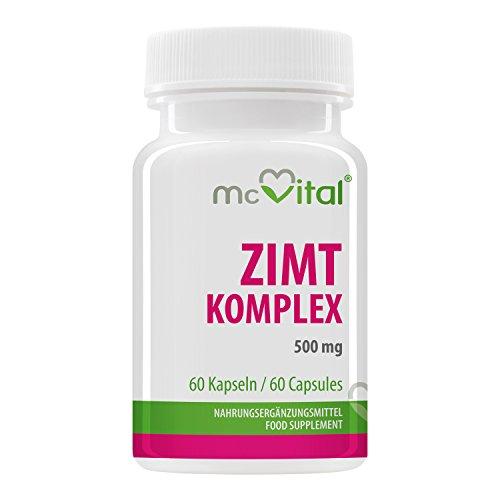 Zimt Komplex - 500 mg - stabiler Blutzuckerspiegel - Cholesterinspiegels - 60 Kapseln (Diabetiker Kapseln)
