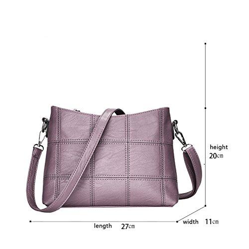 Sunas Borsa del messaggero di spalla di grande capacità delle borse di modo del modello del ricamo della borsa dell'unità di elaborazione della nuova borsa delle signore viola