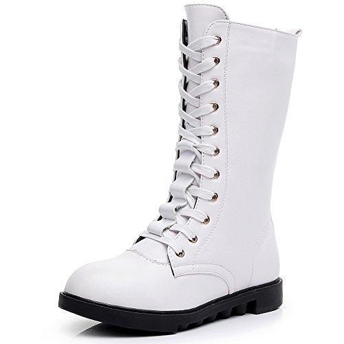 rismart Mädchen Mittleres Kalb Reißverschluss Mode Niedrige Ferse Tanzen Stiefel SN033801 (Weiß,30 EU)