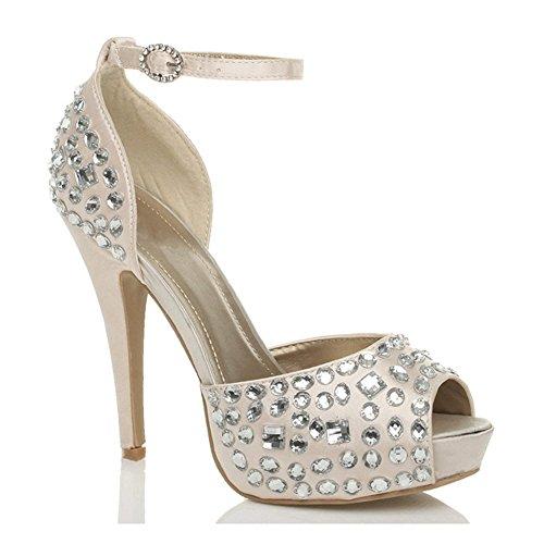 Talón De Zapatos De Plataforma Abierta Dedo Del Pie De La Boda De Tacón Alto De Las Mujeres Talla Champagne Rosa Beige