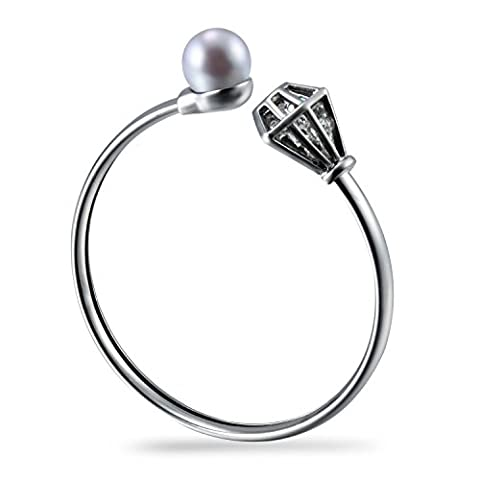 Morenitor Bracelet en acier inoxydable pour femme Brassard avec perles d'eau douce et cristal