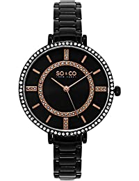 So & Co New York SoHo Women's Quartz Watch with Black Dial Analogue Display and Black Stainless Steel Bracelet 5066.5