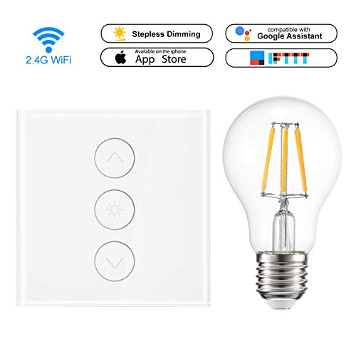 WiFi Smart Switch 1 Gang Smart Light Touch Control Stufenloser Dimmer 400W Wireless Remote Control Kompatibel mit Alexa Google Assistant IFTTT mit 6W LED-Glühbirne Warmwhite (Neutral Line Need) -