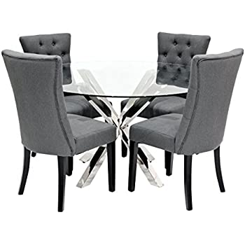 black round dining table and chairs. Febland Crossly Dining Table With 4 Chairs, Metal, Chrome Black Round And Chairs L