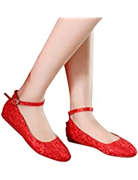 Single shoes - female Zapatos de boda rojo tacones altos gruesos con encaje zapatos de banquete de las mujeres...