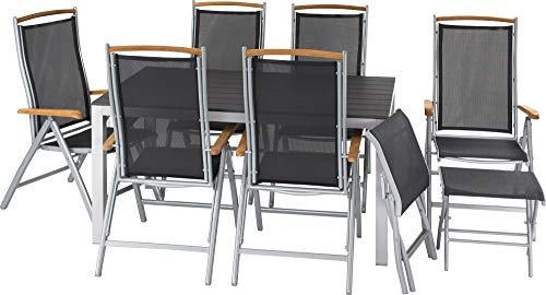 ib style®Polywood Gartengarnitur   Tisch+ 6X Klappstuhl Diplomat + 2X Fußbank  pflegeleicht und witterungsbeständig   Tisch: 150x90cm - Polywood Klappstuhl