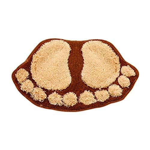 (Wawer Flaumige Matte Badezimmer Dusche Matte Zimmer Fußmatte Füße Form Rutschfeste Pad Wasserabsorbierend Cartoon-Badematte (Kaffee))