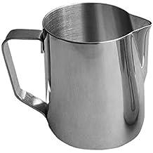 Jarra de leche en acero inoxidable para café espuma de leche café crema–jarra de leche para espumador con escala de capacidad 500ml/1000ml, acero inoxidable, 500 ml