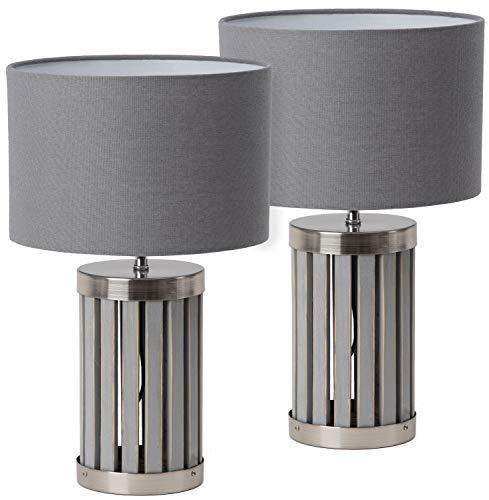 BRUBAKER - Lampe de table/de chevet - Lot de 2 - Design moderne - Hauteur 41 cm - Pied en Bois & Métal/Gris - Abat-jour en Tissu/Gris