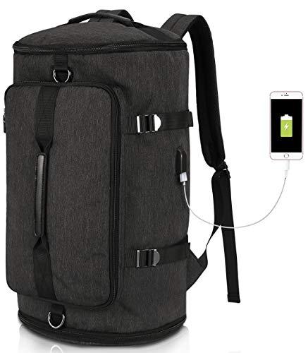 Camping Rucksack Groß Reisen Tasche Damen Herren, Wasserdichte Laptop Rucksack 15,6 Zoll Notebook, Lässiger Daypacks für Wandern Reisen Trekking Outdoor Rucksack Schwarz