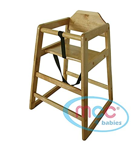 MCC Chaise-haute empilable en bois de couleur naturelle, usage maison & restaurants