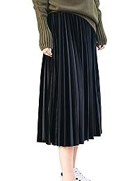 c491da8985 ShiFan Mujer Midi Faldas Plisada Alta Cintura Tallas Grandes Largas Faldas