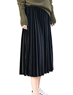Mujer Midi Faldas Plisada Alta Cintura Tallas Grandes Largas Faldas