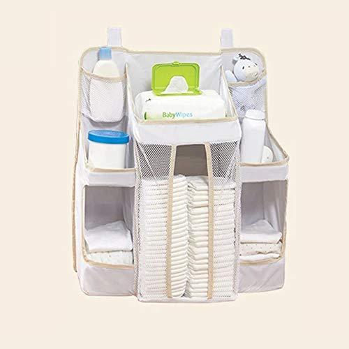 Kinderzimmer-Organizer Baby Windel Caddy Aufbewahrungstasche Nachttisch Hängende Kinderbett Tasche Feuchttücher Stofftiere Milk Pulver Feucht Toilettenpapier Tücher Kleidung, weiß