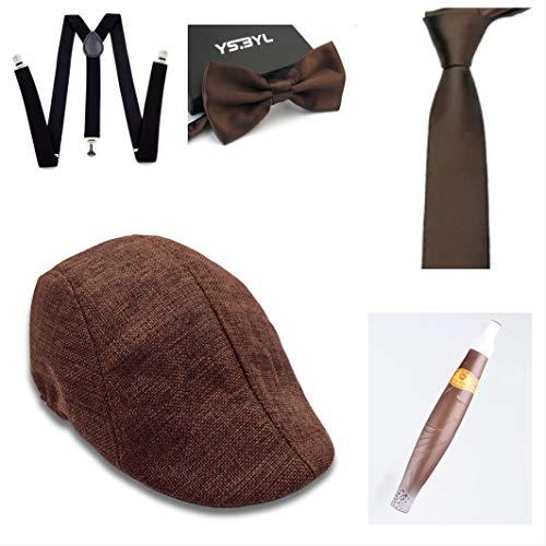 50er Gruppe Kostüm Jahre - thematys Al Capone Mafia Gangster Hut + Fliege + Krawatte + Hosenträger + Zigarre - 20er Jahre Kostüm-Set für Damen & Herren - perfekt für Fasching & Karneval (8)