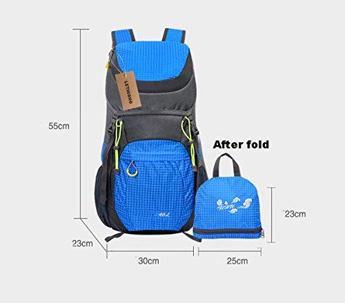 lethigho Ultra leichte Tasche faltbar Damen und Herren robuste wasserdichte Packsack Wandern Radfahren Sport Reisen Rucksack Tagesrucksack Blau - blau