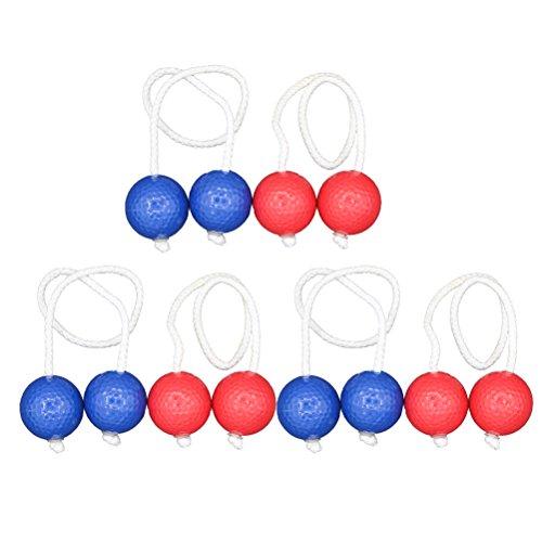 VORCOOL 6 Paar Toss Spiel Bälle Perforierte Plastikbälle Golfpraxis Training Sport Schnur Bälle (Blau und Rot)