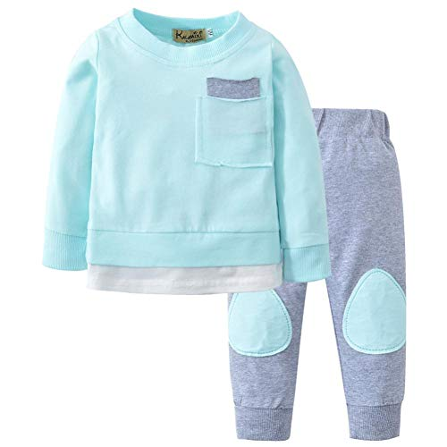 ASHOP Body Bebe niño Conjunto niño Verano Mono Algodon (Azul,90 (12-18Meses))