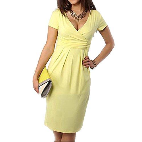 Umstandskleid gelb festlich elegant mit V Ausschnitt