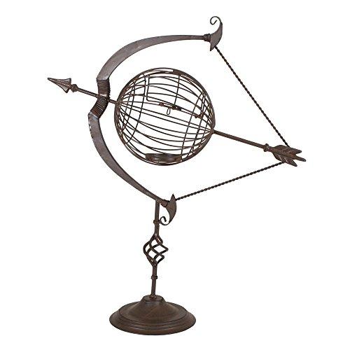 Unbekannt Design Sonnen Uhr Stahl Rost Optik Garten Dekoration Terrasse Pfeil Bogen Globus Harms 504773 (Sonnenuhr Uhr)