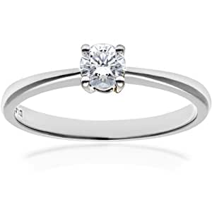 Naava Women's 18 ct White Gold Solitaire Engagement Ring, IJ/I Certified Diamond, Round Brilliant, 0.25ct, White Gold, J