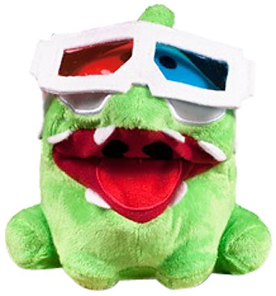 Om Nom 3D Glasses Poseable Plush - Cut The Rope - 12cm 5""