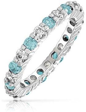 Bling Jewelry 925 Silber Farbe Aquamarin CZ März Geburtsstein Ewigkeitsring