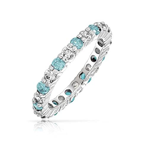 Bling Jewelry Sterling Silber 925 simulierten Aquamarin CZ Ring