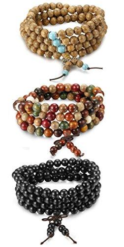 BESTEEL 3 Stück Armbänder Elastisch Herren Damen Buddha Mala Halskette Holz Armbänder Perlen Unisex 8mm Armbänder Set