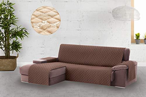 Textilhome - copridivano salvadivano chaise longe circus - color marrone -bracciolo sinistra - protezione per divani imbottiti - dimencione 240cm -(visto di fronte).