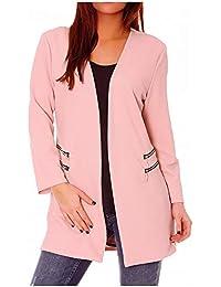 Veste Blazer Femme Longue Rose sans col avec Double Zip au Niveau des Poches  - Unique f49397fa633e