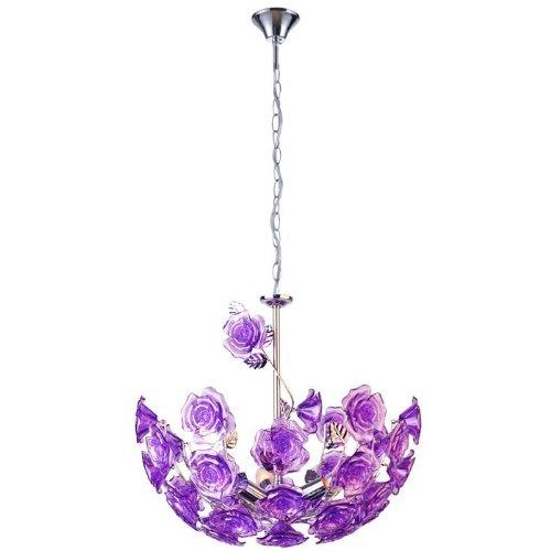 suspension-led-plafonnier-lustre-lampe-del-luminaire-plafond-boule-fleurs-violet