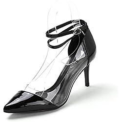 Frühling transparent Mosaik Spitze Schuhe/Stiletto heels/Glänzendem Lackleder Schuhe-A Fußlänge=23.8CM(9.4Inch)