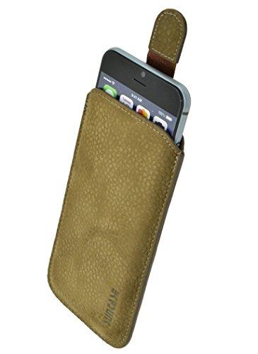 Samsung Galaxy S6 Edge + (Plus) (SM-G928F) *Ultra Slim* Original Suncase Leder Etui Tasche Handytasche Ledertasche Schutzhülle Case Hülle (mit Rückzuglasche) olivgrün-veloursleder