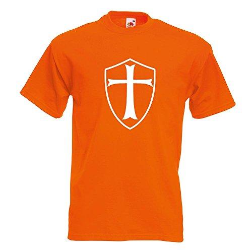 KIWISTAR - Kreuzritter Schild T-Shirt in 15 verschiedenen Farben - Herren Funshirt bedruckt Design Sprüche Spruch Motive Oberteil Baumwolle Print Größe S M L XL XXL Orange
