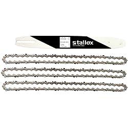 """3 tallox chaînes de tronçonneuses et 1 guide-chaînes 3/8"""" 1,3 mm 52 maillons longueur de guide-chaîne 35 cm compatible avec Oregon Bosch Dollmar Hitachi Echo Einhell Makita"""