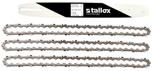 tallox Schwert und 3 Sägeketten 3/8' 1,3 mm 52 TG 35 cm Führungsschiene kompatibel mit Oregon Bosch Dollmar Hitachi Echo Einhell Makita Husqvarna und andere