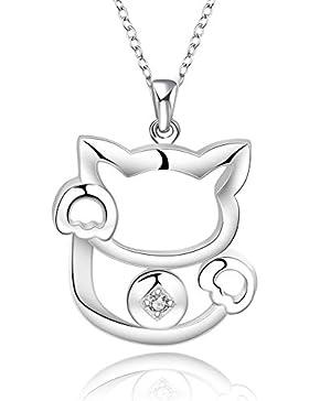Silberne Halskette mit Katzen-Anhänger und Strass Zirkonia Kristall Geschenk Mädchen