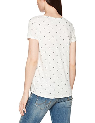 TOM TAILOR Denim Damen T-Shirt Printed Slub Tee Beige (Dune Beige 8003)