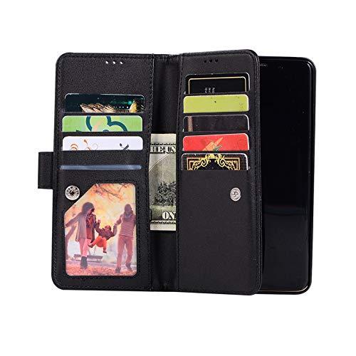 TechCode S9 Galaxy 5,8 Flip Cover, Premium PU Leder Ganzkörper Flip Wallet Case Reißverschluss Geldbörse Telefon Schutzhülle Bling Cover für Galaxy S9 5,8'',Schwarz 5.8 Handys
