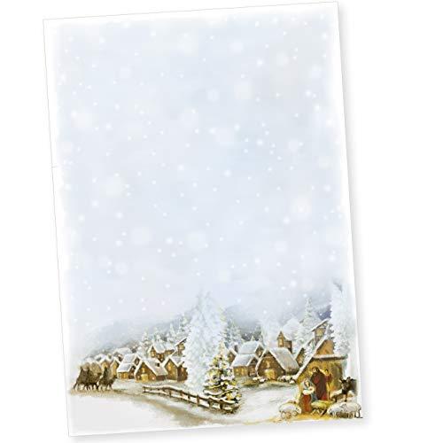 TATMOTIVE 01-0144-0090-00050 Weihnachtsdorf 50 Blatt Weihnachtsbriefpapier geschäftlich für Firmen