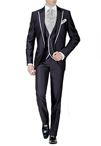 Suit Me Slim Fit coup¨¦ Hommes 3 Piece Suit matin Weddings Parti veste de costume de bal, gilet, pantalon de costume Nior