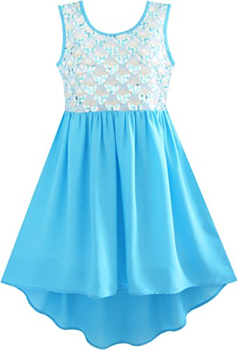 Funkeln-partei-kleid (Mädchen Kleid Funkeln Hallo-lo Chiffon Kleiden Prinzessin Gr. 158)