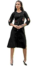 Clickedia Women's Ethnic Embroidery work and fancy button Kurti