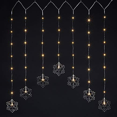 LED Lichter Kette 120cm für Drinnen Deko Licht Schneeflocke Zimmerdeko Winter Leuchte Weihnachtsbeleuchtung Weihnachtsdeko Fensterdeko Licht Dekoration 47 LEDs Fenster Herbstdeko Advent Schneeflocken