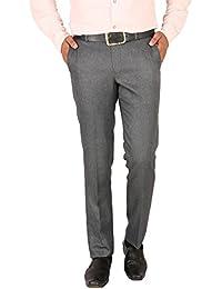 Matalino Men's Grey Slim Fit Formal Trouser