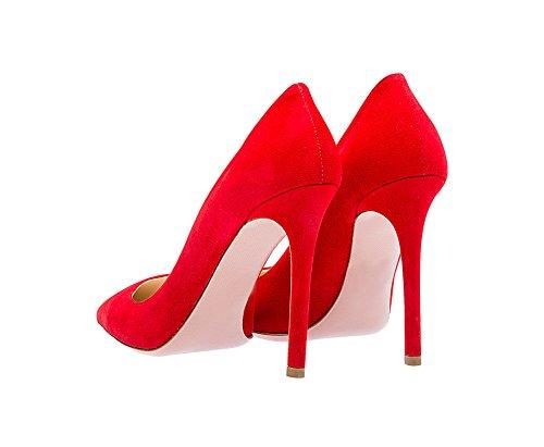 Guoar High Heels Große Größe Damen Spitzschuh Rutsch Büro Damenschuhe Stiletto 10 CM Ballsaal Party Pumps A-Rot Samt