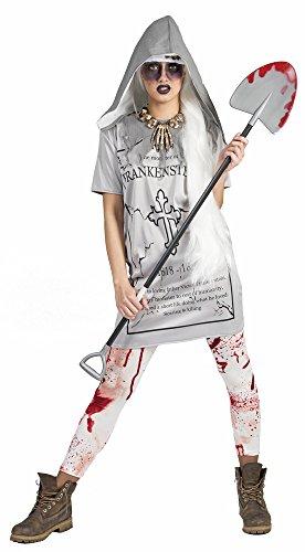 Zombie Totengräber Kostüm - Das Kostümland Grabstein Tammy Kleid mit Kapuze für Damen - Grau Gr. 44 46